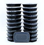 tupperware containers black - BlacWare [20 Pack] 28oz Meal Prep 1 Compartment Food Storage Containers Durable BPA Free Plastic Reusable Microwave & Dishwasher Safe Airtight Lid Portion Control & 21 Day Fix Weight Loss Fitness