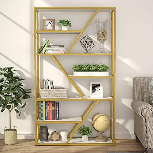 Tribesigns 7-Tier Open Bookshelf, Modern Etagere Bookcase Display Shelf Organizer with 7 Shelves Storage Capacity & Gold Sturdy Metal Frame for Home Office Use