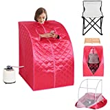 Giantex Portable 2L Steam Sauna Spa Full Body Slimming Loss Weight Detox Therapy w/Chair (Pink)