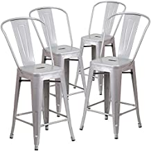 """Belleze Indoor/Outdoor Barstool Stool with Back (4 Pack), 30""""-inch, Silver"""