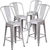 Belleze Indoor/Outdoor Barstool Stool with Back (4 Pack), 30''-inch, Silver