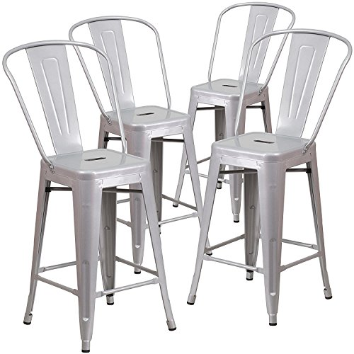 Belleze (4-PC 24'' High Silver Indoor-Outdoor Counter Height Stool with Back (Bar Stool Amelia)