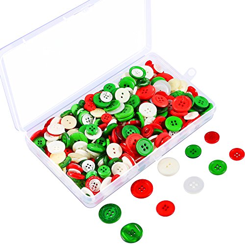 Coobey 200g Christmas Craft Buttons Handmade Sewing Buttons with Plastic Storage Box for DIY Sewing Crafting, Assorted Colors and Sizes