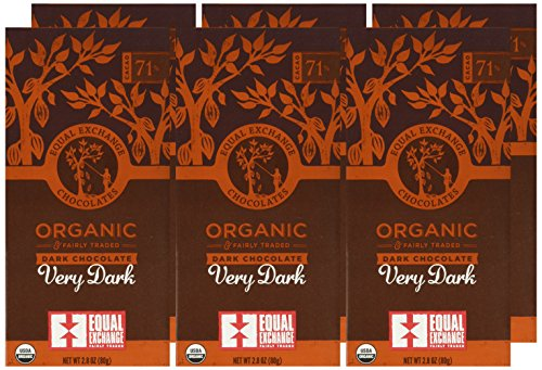 Equal Exchange Organic Very Dark Chocolate, 2.8 Ounce, Pack of 6 2 Contains 6 packs of 2.8 oz Very Dark Chocolate TASTE: Rich Dark Chocolate Bar Very Dark 71% Cacao.  Vegan, Soy & Gluten Free Crafted Soy & Gluten Free