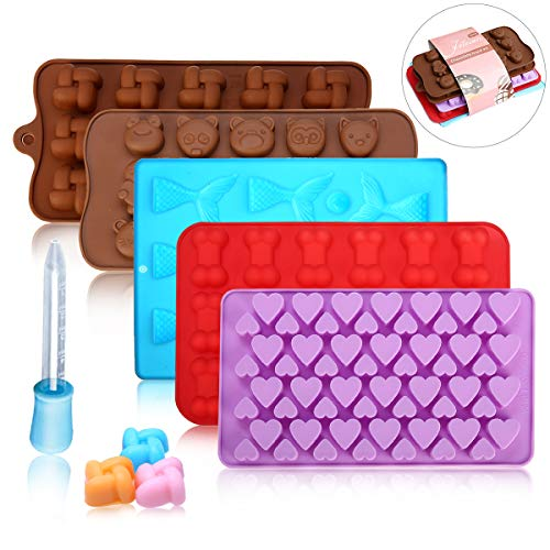 (5 Pack Silicone Chocolate Molds Candy Making Mold,Jeteven Fat Bombs Ice Cube,Jelly,Cupcake Baking Mold - Mermaid/Bone/Heart/Cute Animal/Squares Shaped Silicone Molds With a Bonus)