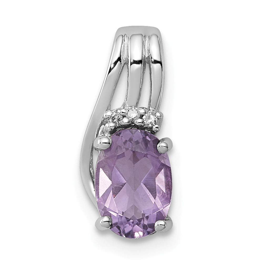 Jewelry Stores Network Amethyst /& Diamond Oval Pendant 13X6mm in 925 Sterling Silver 0.58Ct 13x6mm