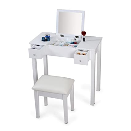 Charmant Organizedlife White Vanity Sets With Stool Mirror Dressing Table Wooden  Makeup Cabinet Jewelry Armoire