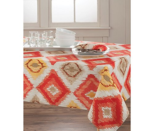 HomeCrate Classic Brussels Ikat Collection Microfiber Tablecloth, 60