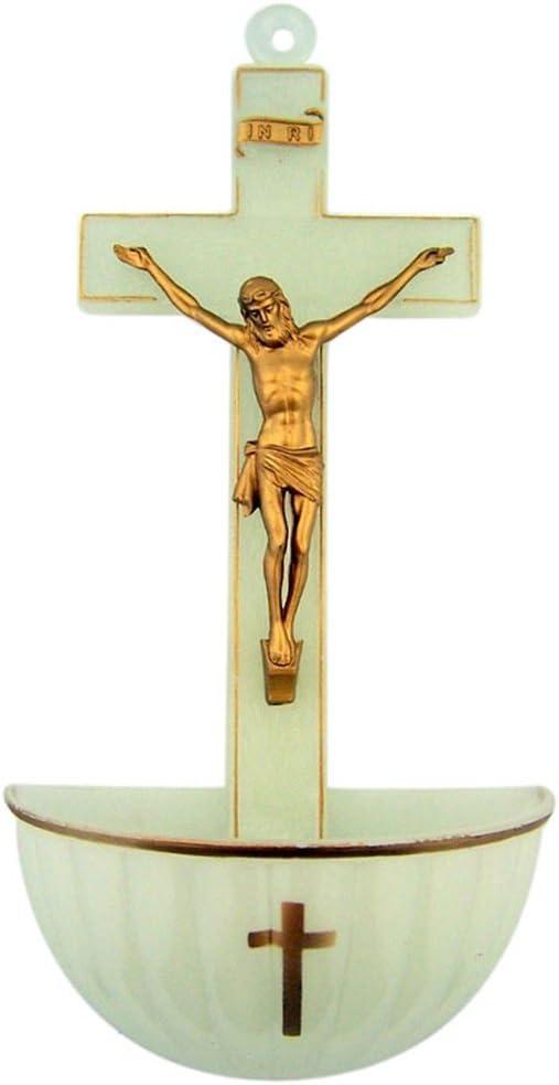 Holy Water Fonts for Home Catholic, Jesus Christ Crucifixion, Molded Acrylic Decoration, Luminous, 5 Inch