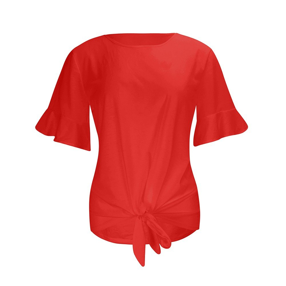 Women Short Sleeve Lotus Leaf Sleeve Round Collar Strap Knotted Pure Color Top Red
