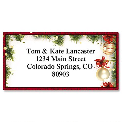 Christmas Twilight Personalized Return Address Labels - Set of 144, Large, Self-Adhesive, Flat-Sheet Labels with Border, By Colorful Images