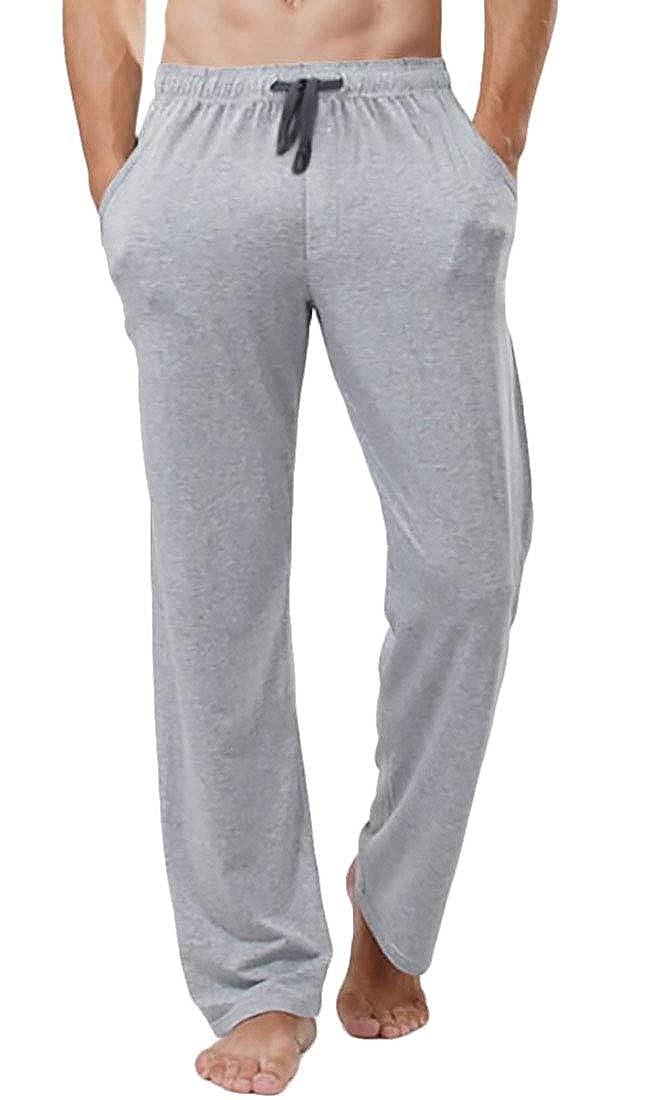 UUYUK Men Solid Cotton Knit Jersey Pajama Pants with Drawstring