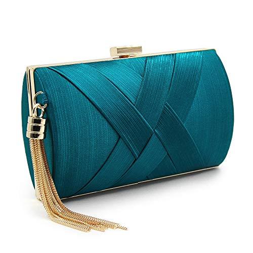 Pochette De Discothèque Pour Femme Evening Clutch Yyzcl Noir Bleu couleur La Mariage Avec Bag Soirée Pendentif En Soie fHUqFWtx
