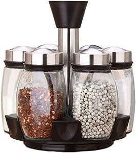 Beher 6-Jar Revolving Spice Rack Organizer Spinning Countertop Herb and Spice Rack Organizer with 6 Glass Jar Bottles (Spices Not Included)