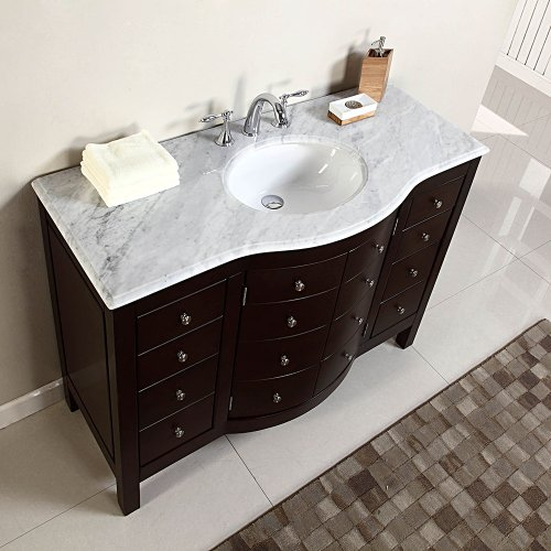 Silkroad Exclusive White Marble Top Single Sink Bathroom Vanity With Bath Furniture Cabinet 48 Inch Buy Online In Dominica At Dominica Desertcart Com Productid 17954757