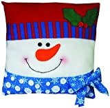 Design Works Snowman Button Pillow, Multi-Color by Design Works