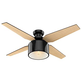 Hunter Cranbrook Low Profile Gloss Black Ceiling Fan With