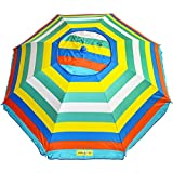 Hang Ten 6.5 ft Silver Lined Vented Beach Umbrella – Multi Color