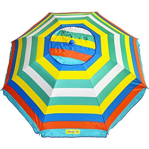 Hang Ten 6.5 ft Silver Lined Vented Beach Umbrella - Multi Color