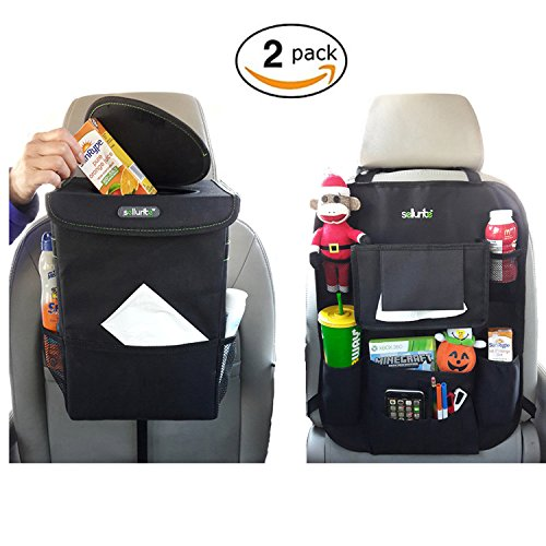 Sellurite Car Trash Can & Car Seat Organizer Duo– Impressive Design– Odor Blocking Car Garbage Can with Lid & Backseat Organizer Holds Everything Kids Need – Bottle Cup Holder, Tissue Holder & Pockets