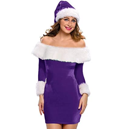shusuen Christmas Women Off Shoulder Long Sleeve Mini Dresses Santa Claus Bodycon Dresse(Red,