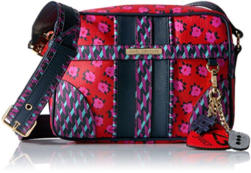 Juicy Couture Leather Print Blocking Corssbody Bag, Red Square Odessa Floral -