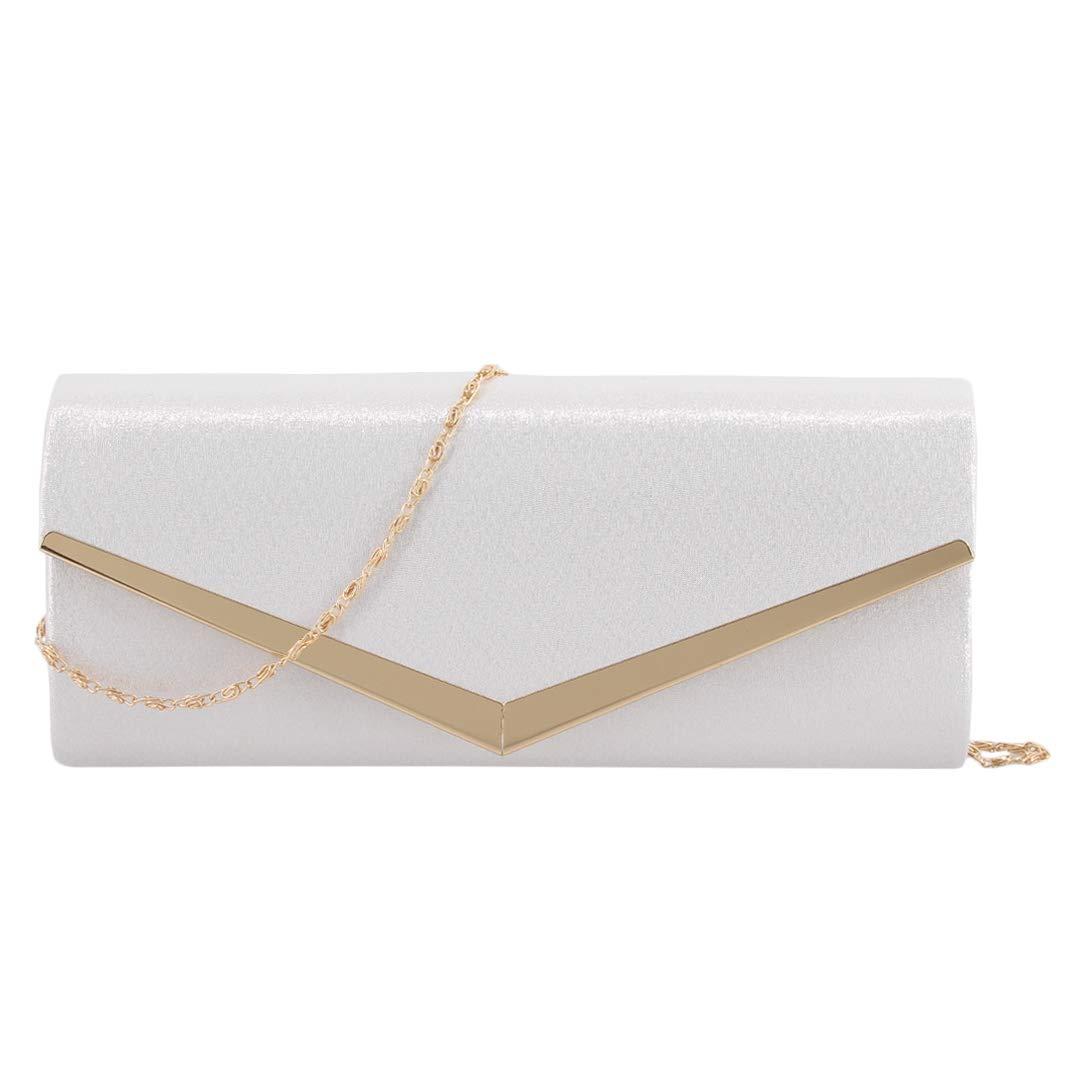 White Liliam Women Glitter Shoulder Crossbody Evening Bridal Bag Clutch Handbag Purse for Wedding Party Prom