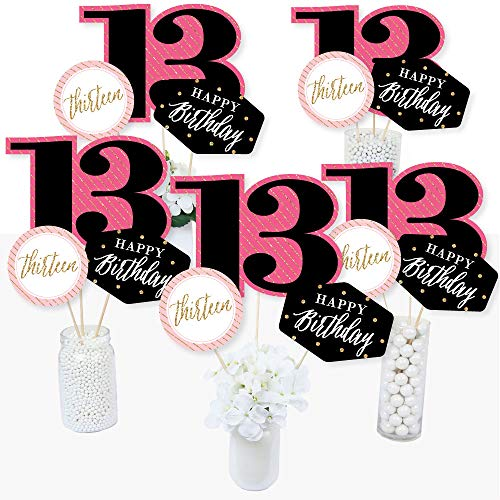 Chic 13th Birthday - Pink, Black and Gold - Birthday Party Centerpiece Sticks - Table Toppers - Set of 15 ()