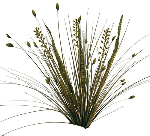 Factory Direct Craft Artificial Feather and Onion Grass Bushes | 2 Bushes | for Indoor Decor (Green)