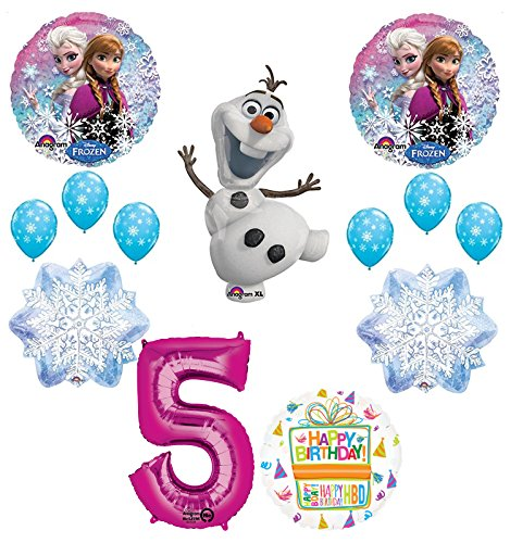 Frozen Party Balloons (Mayflower Products Frozen 5th Birthday Party Supplies Olaf, Elsa and Anna Balloon Bouquet Decorations Pink)