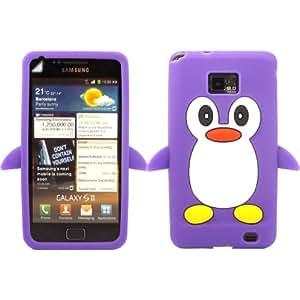 Penguin Silicona Caso Cubrir Concha Y Protector De Pantalla Para Samsung Galaxy S2 i9100 / Purple