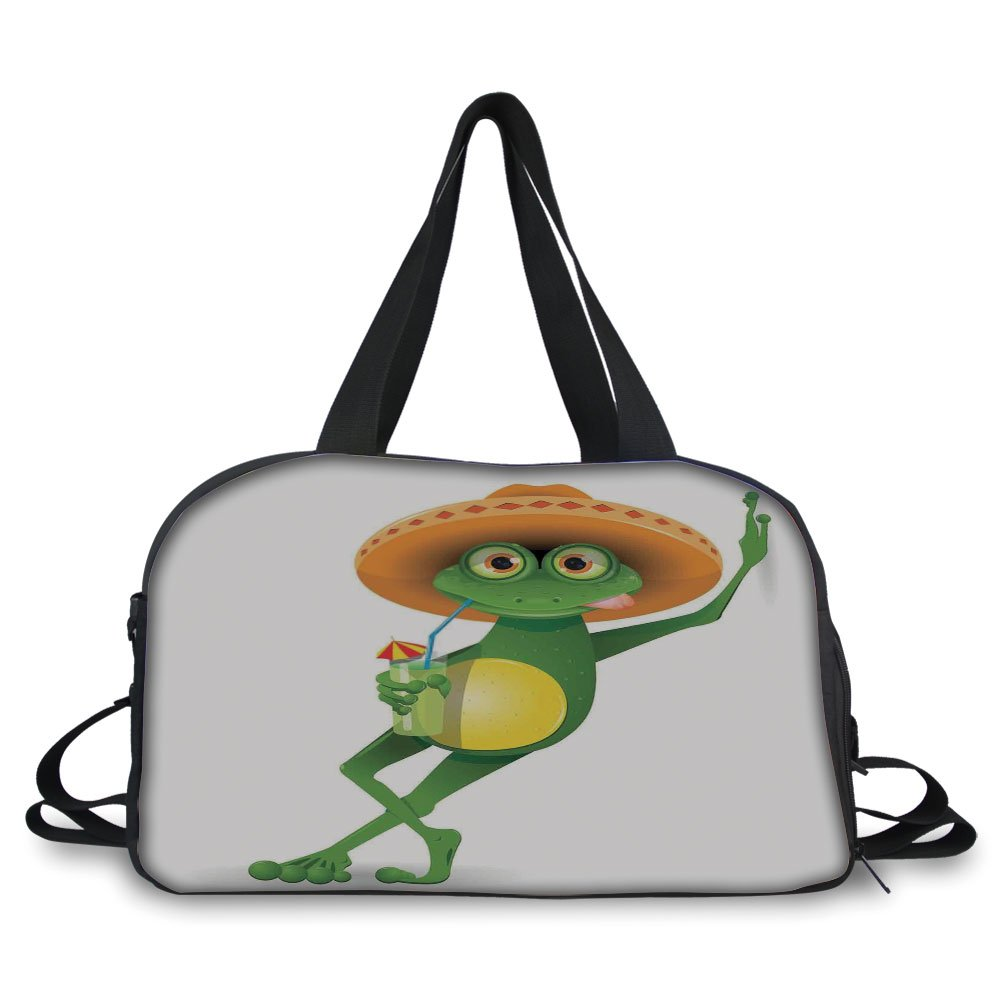 iPrint Travelling bag,Cartoon,Frog in a Sombrero and a Cocktail Drink Glass Fauna Hot Weather Holiday,Fern Green Apricot ,Personalized