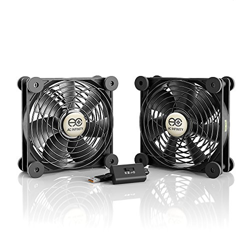 AC Infinity MULTIFAN S7, Quiet Dual 120mm USB Fan for Receiver DVR Playstation Xbox Computer Cabinet Cooling ()
