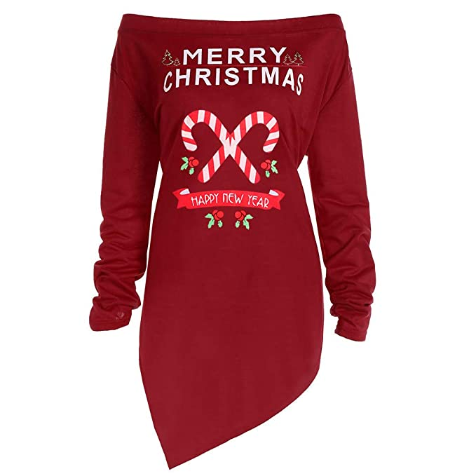 Christmas Tops For Women.Women Xmas Tops Ladies Long Sleeve Marry Christmas Print