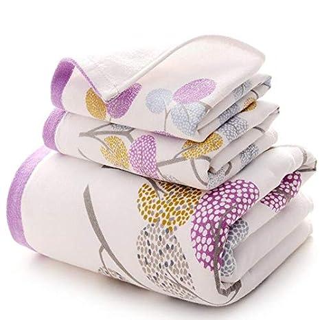 Bearony Suave Conjunto de 3 Toallas de algodón Exquisito Patrón de árboles Toallas de Mano Toallas