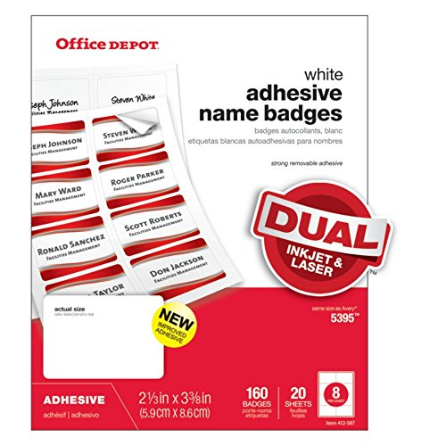 5afdb24418a8 Office Depot Name Badge Labels, 2 1/3in. x 3 3/8in