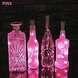 Solar LED String Light, Elevin(TM) 2M 20LED Solar Cork Wine Bottle Stopper Copper Wire String Lights Fairy Lamps (Pink)