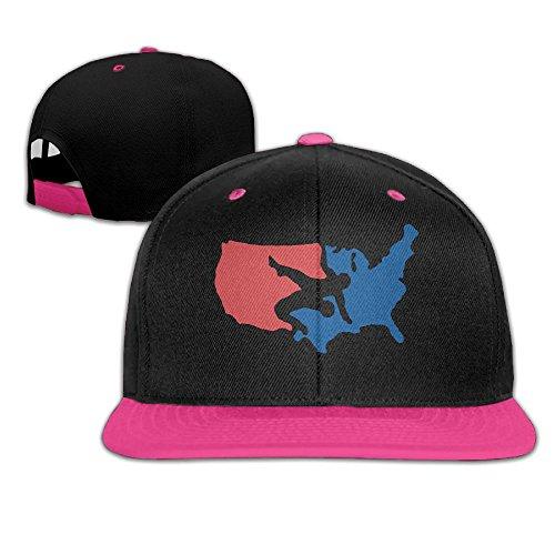 USA Wrestling Men's Adjustable Snapback Hip Hop Outdoor Sport Trucker Cap Hats Flat Brim Pink Baseball Cap for Men Women by HJK7HK