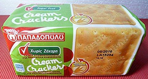 GREECE CREAM CRACKERS Papadopoulou Sugar Free 12 Packs 165g Rich in Fibre