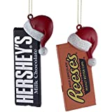 HERSHEY'S™ CANDY BAR WITH SANTA HAT ORNAMENT - 2 ASSORTED: HERSHEY'S™ AND REESE'S