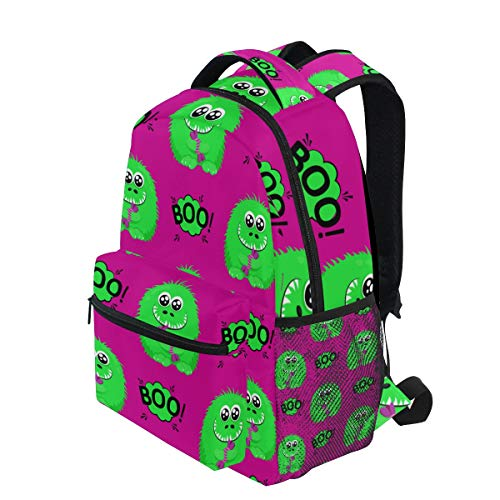 KUDOUXIA School Backpack Abstract Halloween Pattern Girls Boys 1st Grade Lightweight Bookbag Daypack Fits Small Laptop for Kids Teens Travel Bag with 2 Side Pouchs Adorable 16
