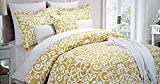 Nicole Miller 3 Piece Full / Queen Duvet Cover Set White Scroll Pattern on Mustard Yellow