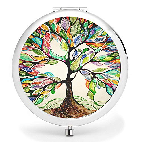(BYBART Metal Compact Mirror, 2-sided with 2X and 1X Magnifying Handheld Makeup Mirror - Perfect for Purse Pocket Travel - Colorful Tree)