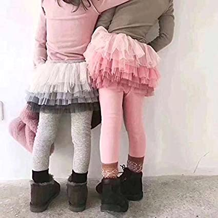 Baby and Toddler Cotton Leggings with Tutu Skirt in Pink or Gray