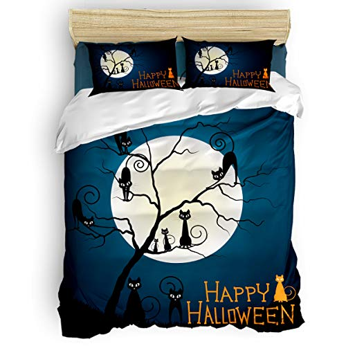 BABE MAPS 4 Piece Luxury Duvet Cover Bedding Sets King Halloween Theme Wild Cat Pattern Breathable Bedroom Quilt Cover with Zipper Closure and 2 Pillow Shams -