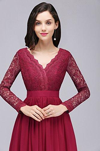 Ausschnitt 32 Elegant Brautjunfernkleid 46 MisShow® Abendkleid Balu Royal Damen Ballkleid Spitzen lang V tzwwq6x4