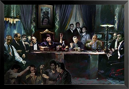 (Buyartforless Framed Gangster Last Supper by Ylli Haruni 36x24 Art Print Poster Godfather Scarface Sopranos Goodfellas)