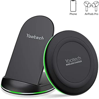 yootech Wireless Charger, [2 Pack] Qi Certified 10W Max Wireless Charging Pad Stand Bundle,Compatible with iPhone SE 20201111Pro11Pro MaxXR,Galaxy