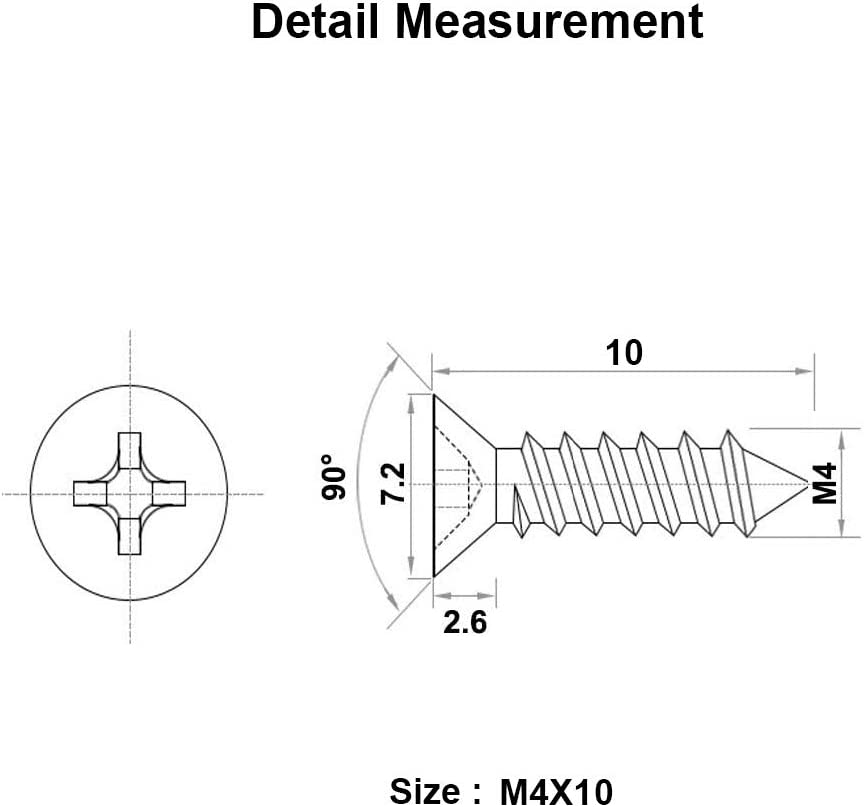 100 Pz Viti per legno autoperforanti Acciaio inossidabile Viti a testa bombata Phillips Viti autofilettanti Scanalatura trasversale standard Elementi di fissaggio per la lavorazione del legno M3 x 10