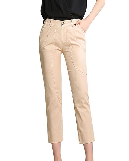 ShiFan Tallas Grandes Mujer Casual Pantalones Rectos Elasticos Capri  Pantalon Slim Albaricoque 4XL  Amazon.es  Ropa y accesorios a286871cc52b